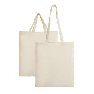Λευκές υφασμάτινες τσάντες από την εταιρεία Μπαξεβανίδης Α.Ε.